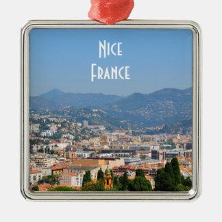 フランスのニースの都市の空中写真 メタルオーナメント