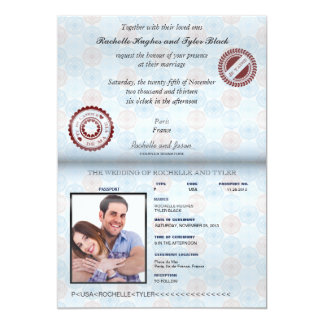 フランスのパスポートの(描写される)結婚式招待状II カード