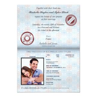 フランスのパスポート(描写まぶしさ)の結婚式 12.7 X 17.8 インビテーションカード
