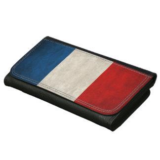 フランスのヴィンテージのグランジな三色の旗 レザーウォレット