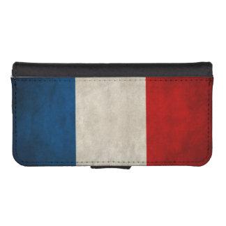 フランスのヴィンテージのグランジな三色の旗 iPhoneSE/5/5sウォレットケース