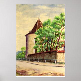 フランスのヴィンテージの水彩画Aのブドウ園 ポスター