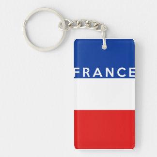 フランスの国旗の記号の名前の文字 長方形(片面)アクリル製キーホルダー