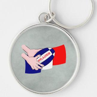 フランスの旗のラグビーのボールの漫画手 キーホルダー
