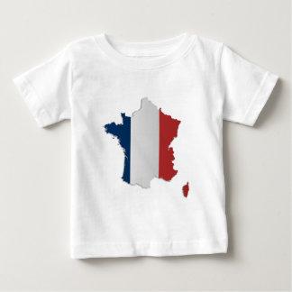 フランスの旗の地図 ベビーTシャツ