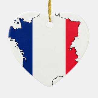 フランスの旗の地図#2 セラミックオーナメント