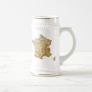 フランスの旗の~の地図のマグ ビールジョッキ