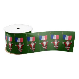 フランスの旗を持つサンタクロース サテンリボン