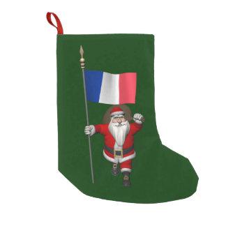 フランスの旗を持つサンタクロース スモールクリスマスストッキング