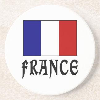 フランスの旗及び単語の黒 コースター