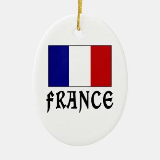 フランスの旗及び単語の黒 セラミックオーナメント