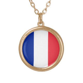 フランスの旗、三色の国旗 ゴールドプレートネックレス