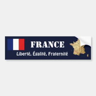 フランスの旗 + 地図のバンパーステッカー バンパーステッカー