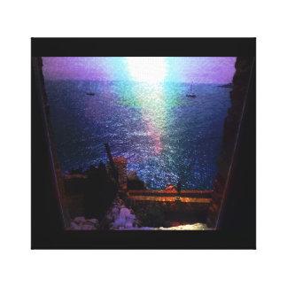 フランスの水辺地帯の窓場面写真 キャンバスプリント