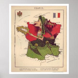 フランスの風刺漫画の地図1868年 ポスター