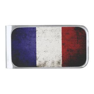 フランスの黒くグランジな旗 シルバー マネークリップ