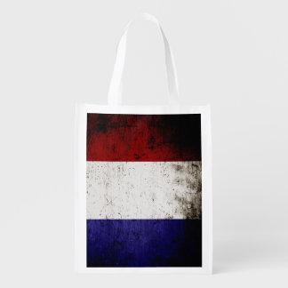 フランスの黒くグランジな旗 リユーザブルバッグ