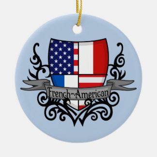 フランスアメリカの盾の旗 セラミックオーナメント