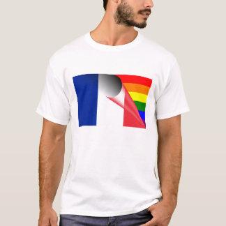 フランスゲイプライドの虹の旗 Tシャツ
