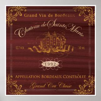 フランスワインLabelArt: ボルドー ポスター