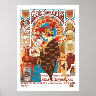 フランス人のアールヌーボーのヴィンテージの絵のコーヒー ポスター