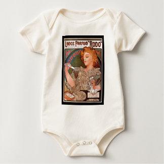 フランス人のアールヌーボーのヴィンテージポスターTシャツ ベビーボディスーツ