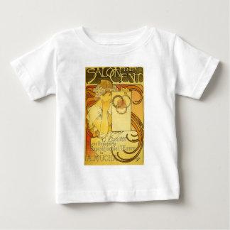 フランス人のアールヌーボーのヴィンテージポスターTシャツ ベビーTシャツ