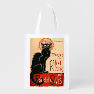 フランス人のアールヌーボーの黒猫ポスター-買い物袋 リユーザブルバッグ