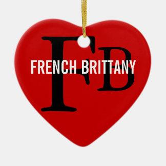 フランス人のブリッタニーの品種モノグラムのデザイン セラミックオーナメント