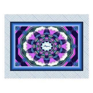 フランス人のBonjourの青いピンクの紫色の曼荼羅の郵便はがき ポストカード