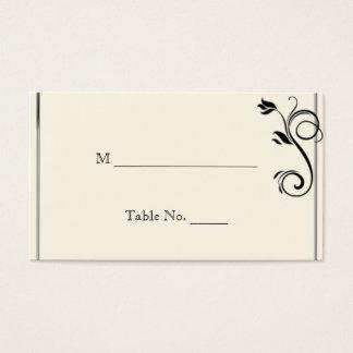 フランス人のDecoのバラの黒のクリームの結婚式の座席表 名刺