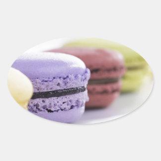 フランス人のMacaronの紫色およびあずき色のクッキー 楕円形シール