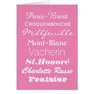 フランス人のPatiserieの挨拶状 カード