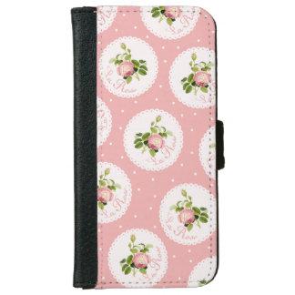 フランス人のProvencalのかわいいバラおよび水玉模様 iPhone 6/6s ウォレットケース