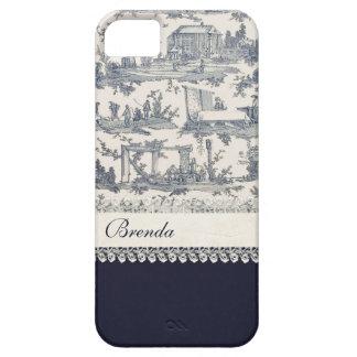 フランス人のToilesのシックで青い及びクリーム色のカスタム iPhone SE/5/5s ケース