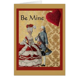 フランス人のVntageのバレンタインの金ゴールドおよび赤 カード
