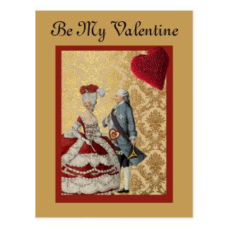 フランス人のVntageのバレンタインの金ゴールドおよび赤 ポストカード