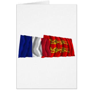 フランス及びバスーノルマンディーの振る旗 カード