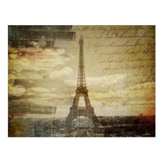 フランス語はヴィンテージのパリモダンなエッフェル塔の台本を書きます ポストカード