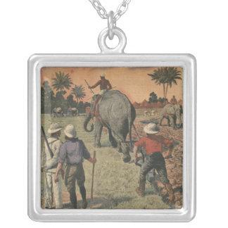 フランス語コンゴでは、象は耕すことに訓練しました シルバープレートネックレス