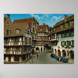 フランス、コルマール、アルザスの木骨造りの家 ポスター