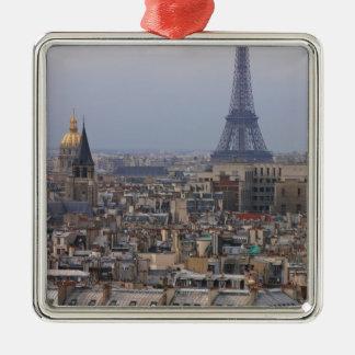 フランス、パリのエッフェル塔との都市景観 メタルオーナメント