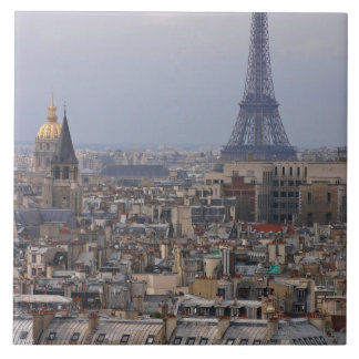 フランス、パリのエッフェル塔との都市景観 正方形タイル大