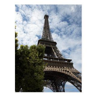 フランス、パリ、エッフェル塔および木の低い角度 ポストカード