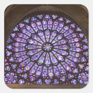 フランス、パリ。 ステンドグラスの内部の詳細 スクエアシール