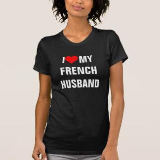 """フランス: """"私は私のフランスのな夫""""のTシャツ愛します Tシャツ"""
