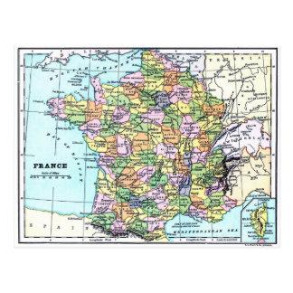 フランス-郵便はがきの地図 ポストカード