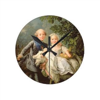 フランス(1757-1836年)のチャールズPhilippeのポートレート ラウンド壁時計