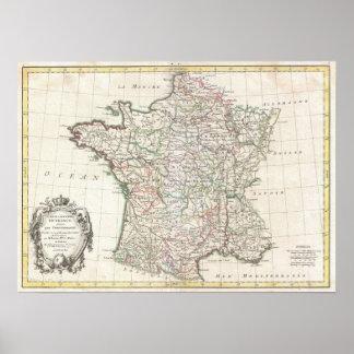 フランス(1771年)のヴィンテージの地図 プリント