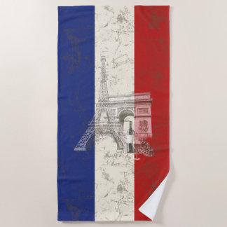 フランスID156の旗そして記号 ビーチタオル